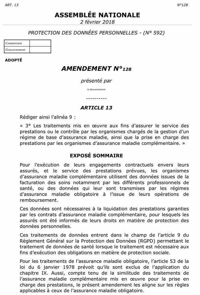 AMENDEMENT TRANSFERT DONNEES DE SANTE
